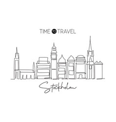 one single line drawing stockholm city skyline vector image