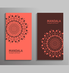 Ornamental mandala flyers in red brown color vector