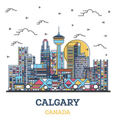 Outline calgary canada city skyline with colored vector