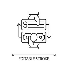 paid check cashing linear icon vector image
