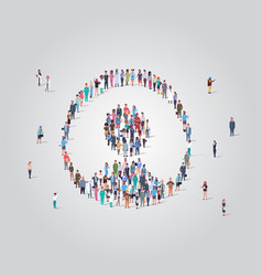 people crowd gathering in user avatar shape social vector image