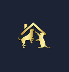 pet house dog cat gold logo vector image