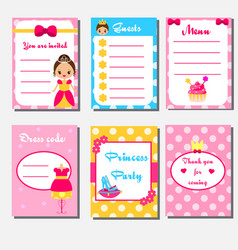 Princess party kids collection children girls vector