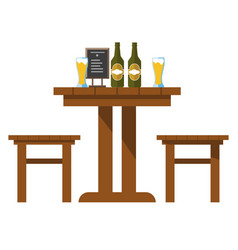 Pub or bar table with beer and chairs isolated vector