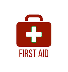 red first aid kit icon medical box with cross vector image