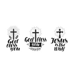 Religion cross crucifixion icon or symbol vector