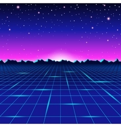 Retro styled futuristic landscape with mountains vector