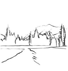 Road in countryside hand drawn landscape sketch vector
