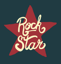 rock star lettering hand drawn poster or t-shirt vector image