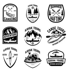 Set canoeing badges isolated on white vector