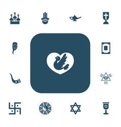 Set of 13 editable faith icons includes symbols vector