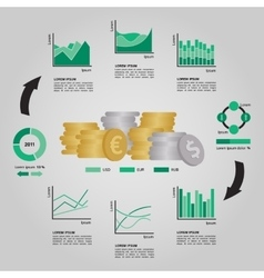 Set of Financial Infographics Elements in Green vector image
