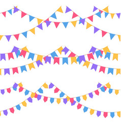 Set of garland with celebration flags chain vector