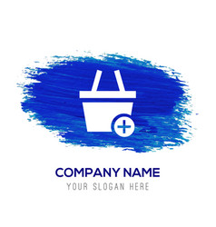 shopping cart and plus sign - blue watercolor vector image