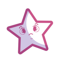 Silhouette kawaii surprised and cute star design vector
