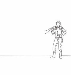 Single one line drawing young female soldier vector