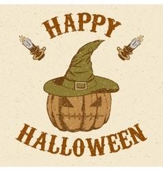 Sketch pumpkin in hat in vintage style vector image