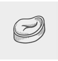 Slice pork meat sketch icon vector