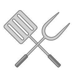 spatula and barbeque fork icon monochrome vector image