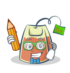 student tea bag character cartoon with pencil vector image