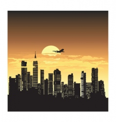 Sunset city vector