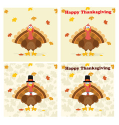 thanksgiving turkey bird collection - 2 vector image