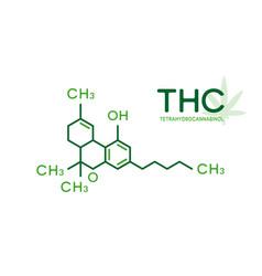 thc molecular formula tetrahydrocannabinol vector image