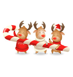 three reindeer friends are holding large candy can vector image