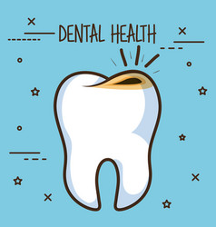 Tooth with cavities dental care icon vector