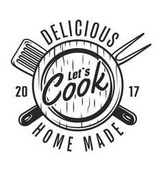 vintage cooking tools badge vector image