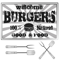 Vintage Metal Sign - Try Our Home style Hamburgers vector