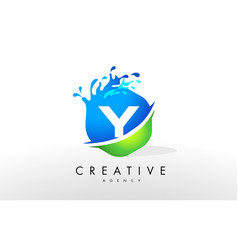 Y letter logo blue green splash design vector