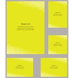 Yellow mosaic page corner design template set vector