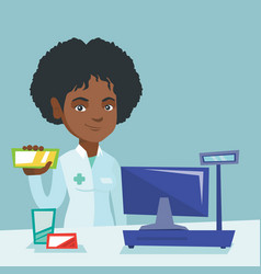 Young african pharmacist showing some medicine vector