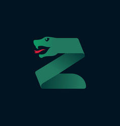 Z letter logo with snake head silhouette vector