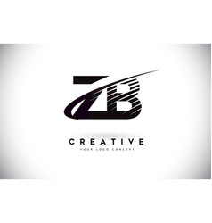 Zb z b letter logo design with swoosh and black vector