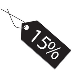 15 percent tag on white background 15 percent tag vector image