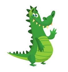 cartoon shy crocodile smiling and waving vector image