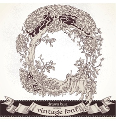 Fable forest hand drawn by a vintage font - Q vector image