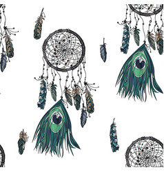 hand drawn ethnic dreamcatcher seamless pattern vector image vector image