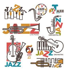 jazz night or live music festival concert logo vector image