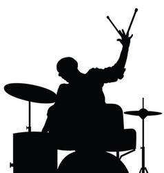 man playing drumms silhouette in black color vector image vector image