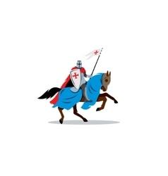 Medieval knight on horseback preparing for joust vector image