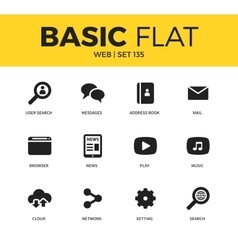 Basic set of web icons vector image vector image