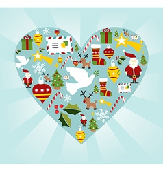 Christmas icon set in heart shape vector image vector image