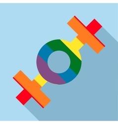 Lesbian rainbow sign icon flat style vector image