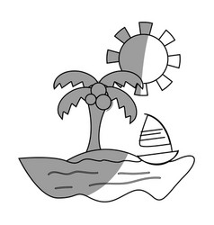 Line palm with sailing boat around of island vector