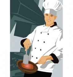 chef with pan vector image vector image