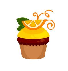 chocolate cupcake with fresh orange slice and vector image vector image