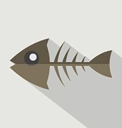 Modern Flat Design Fishbone Icon vector image